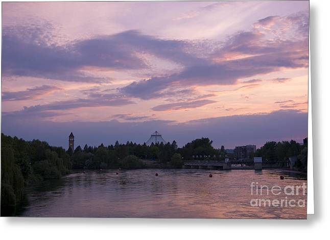 Spokane Twilight Greeting Card by Idaho Scenic Images Linda Lantzy