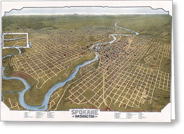 Spokane Washington Pictorial Map  1905 Greeting Card by Daniel Hagerman