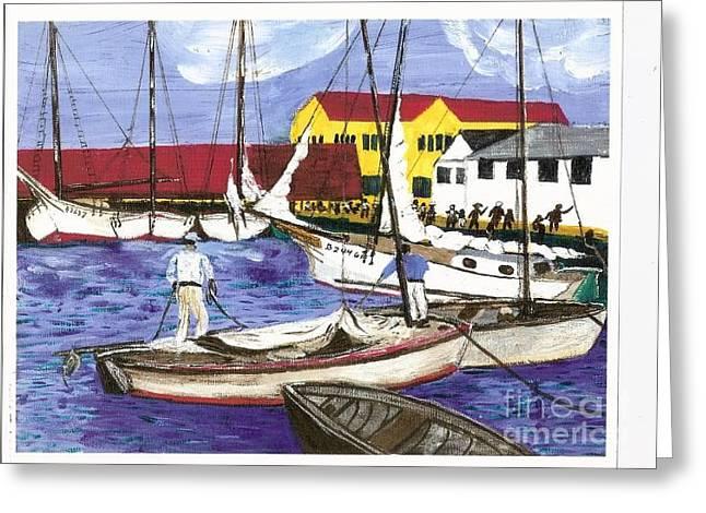 Sponge Fisherman In Nassau Bahamas Greeting Card by Bill Hubbard