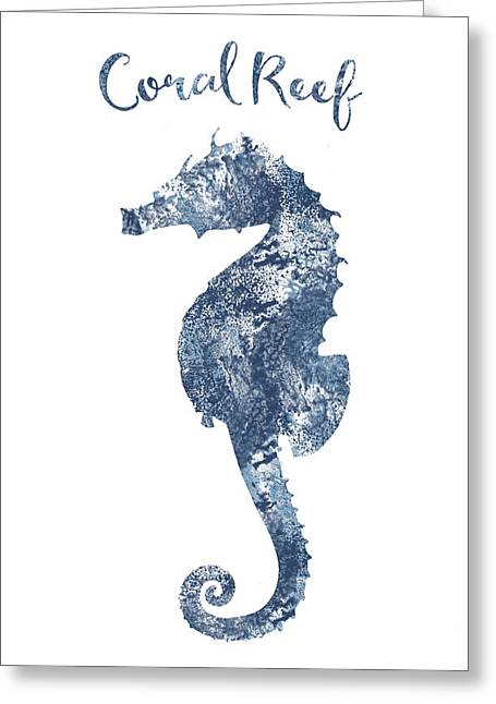 Sponge Painted Seahorse Coral Reef Silhouette, Delft Blue Nautical Art Greeting Card by Tina Lavoie