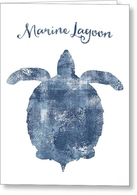 Sponge Painted Turtle Marine Lagoon, Delft Blue Nautical Art Greeting Card by Tina Lavoie