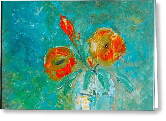 Palette Knife Floral Greeting Card by Lisa Kaiser