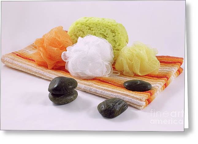 Sponges And Stones Over A Towel Greeting Card