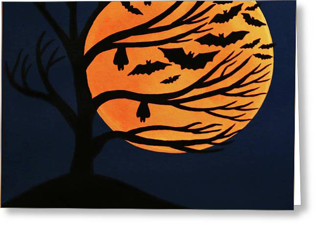 Spooky Bat Tree Greeting Card