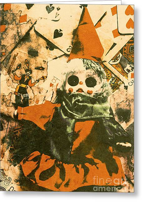 Spooky Carnival Clown Doll Greeting Card