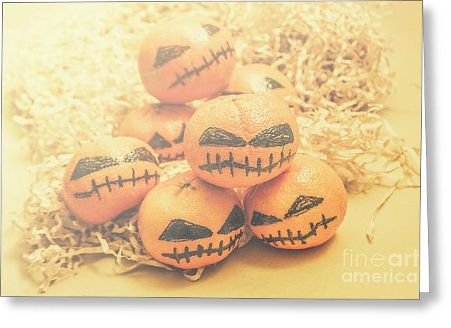 Spooky Halloween Oranges Greeting Card