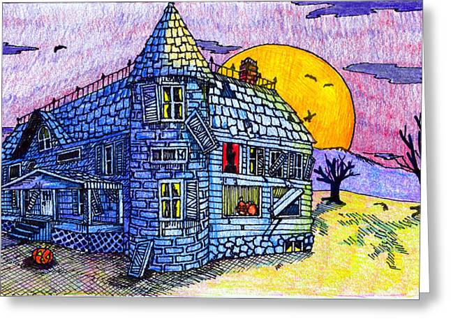 Greeting Card featuring the drawing Spooky House by Jame Hayes