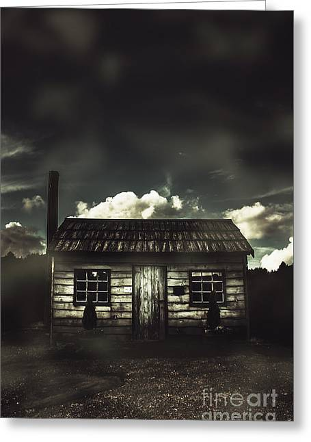 Spooky Old Abandoned House In Dark Forest Greeting Card
