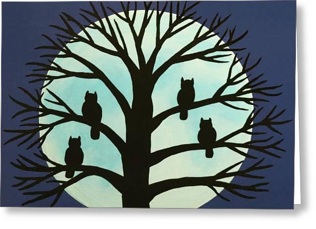 Spooky Owl Tree Greeting Card
