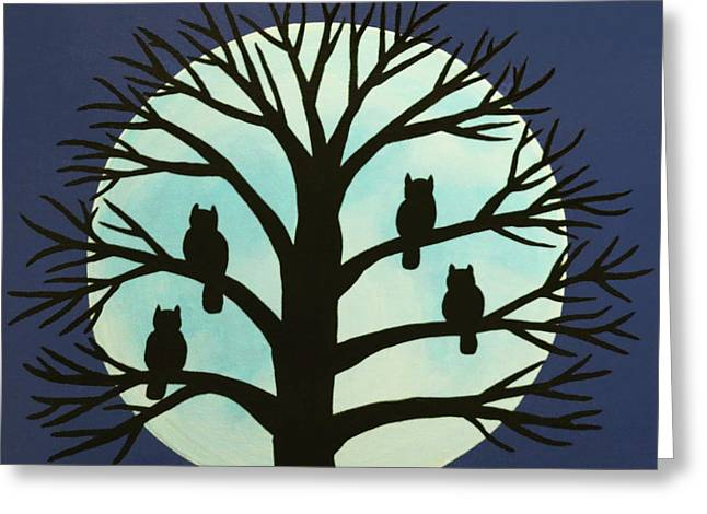 Spooky Owl Tree Greeting Card