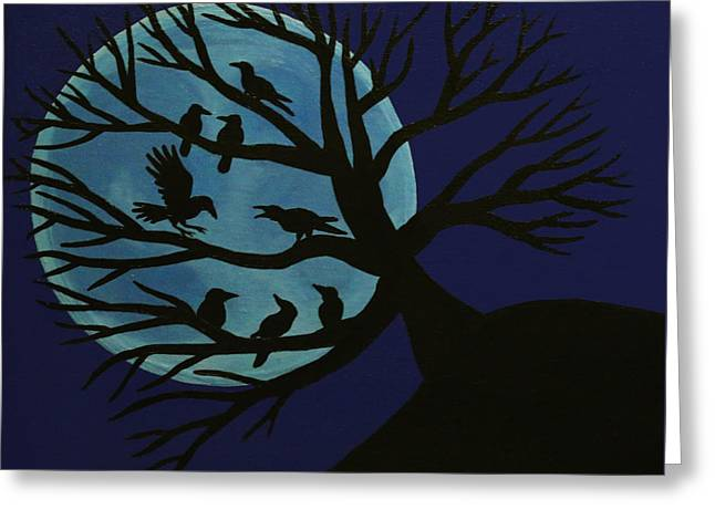 Spooky Raven Tree Greeting Card