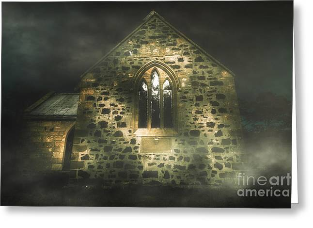 Spooky Stone Church In A Haunted Winters Night Greeting Card