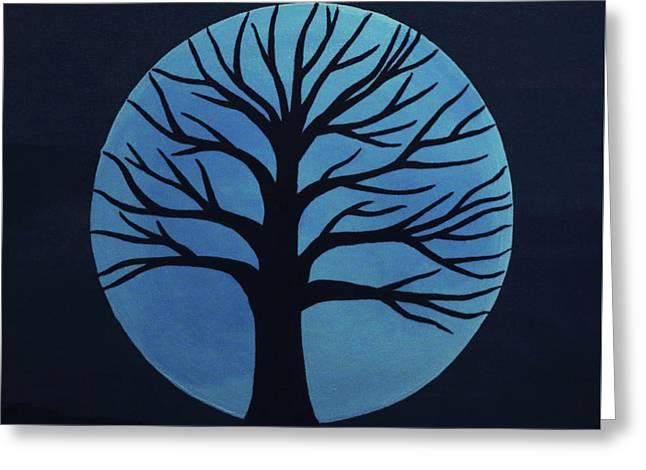 Spooky Tree Blue Greeting Card
