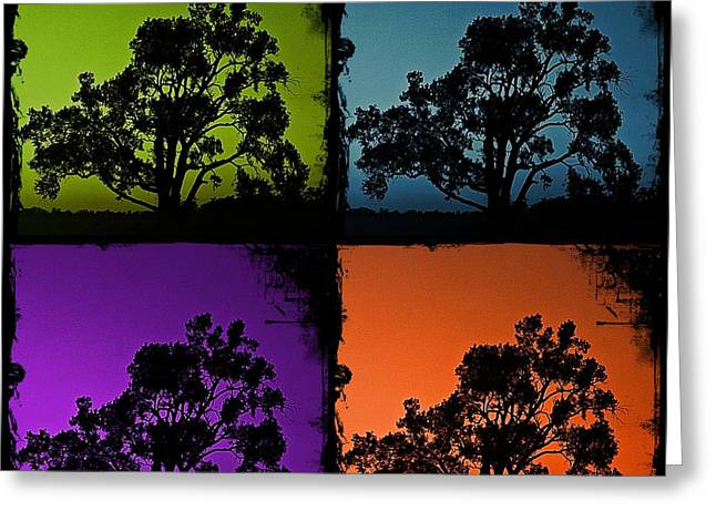 Greeting Card featuring the photograph Spooky Tree- Collage 1 by KayeCee Spain
