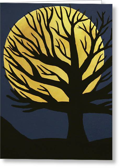 Spooky Tree Yellow Greeting Card