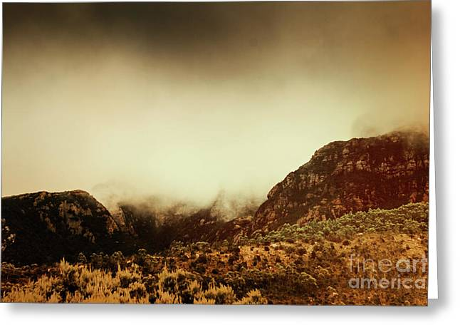Spooky Vintage Mountain Scene Greeting Card by Jorgo Photography - Wall Art Gallery