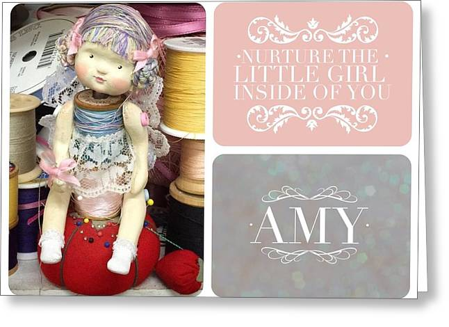 Spool Doll Image - Amy Greeting Card by Monica Guerrero