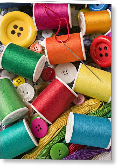 Mend Greeting Cards - Spools of thread with buttons Greeting Card by Garry Gay