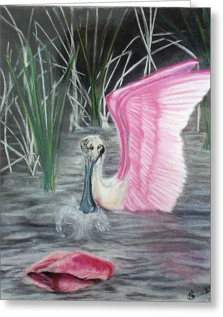Wild Life Pastels Greeting Cards - Spoon Bill Pare Greeting Card by Nancy Rucker