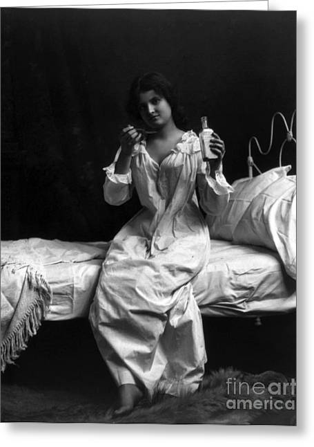 Spoonful Of Medicine, 1901 Greeting Card by Science Source