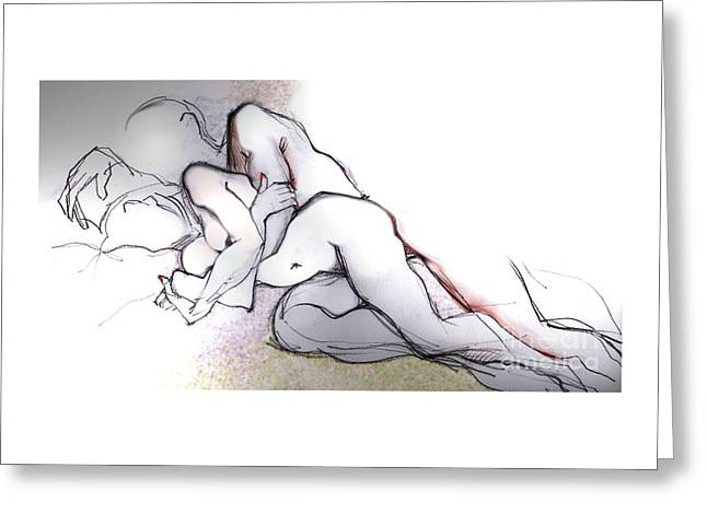 Greeting Card featuring the mixed media Spooning - Loving Couple by Carolyn Weltman