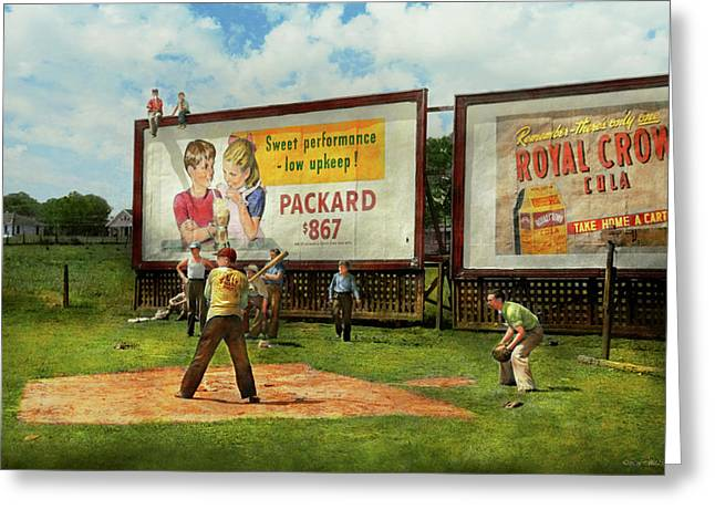 Sport - Baseball - America's Past Time 1943 Greeting Card by Mike Savad