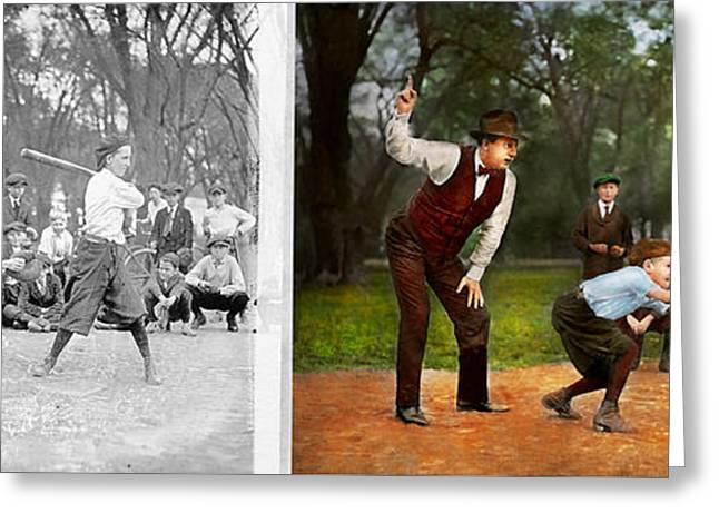 Sport - Baseball - Strike One 1921 - Side By Side Greeting Card by Mike Savad
