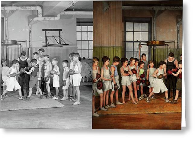 Greeting Card featuring the photograph Sport - Boxing - Fists Of Fury 1924 - Side By Side by Mike Savad
