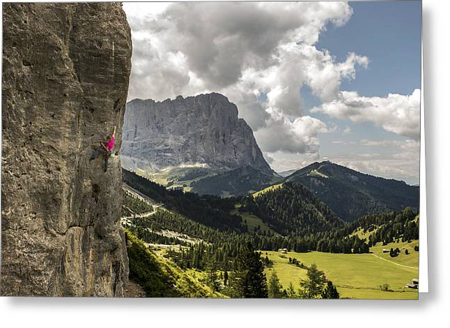 Sport Climbing In The Dolomites Greeting Card