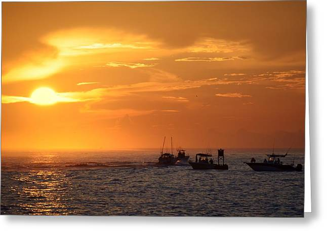 Greeting Card featuring the photograph Sportfishermen Head Offshore by Bradford Martin