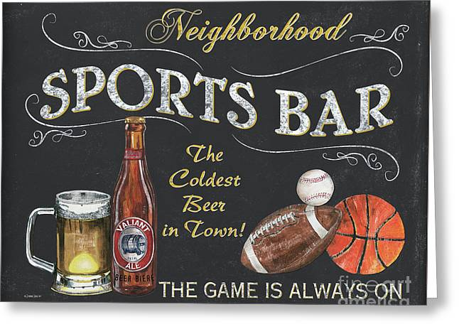 Sports Bar Greeting Card by Debbie DeWitt