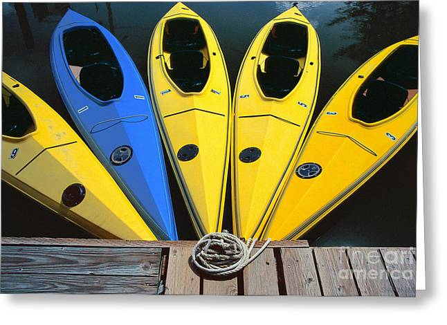sports boat photography - Yellow Kayaks Greeting Card