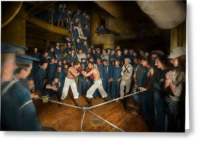 Sports - Boxing - The Second Round 1896 Greeting Card by Mike Savad