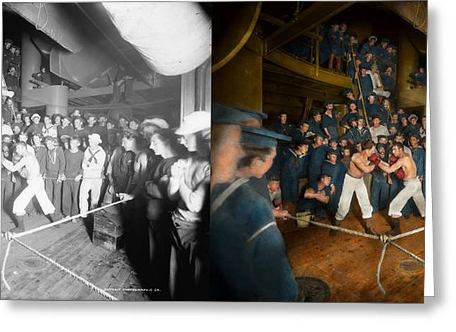 Sports - Boxing - The Second Round 1896 - Side By Side Greeting Card by Mike Savad
