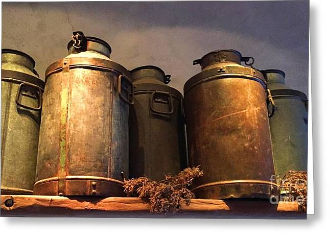 Spotlight On Old Milk Cans  Greeting Card by Barbie Corbett-Newmin
