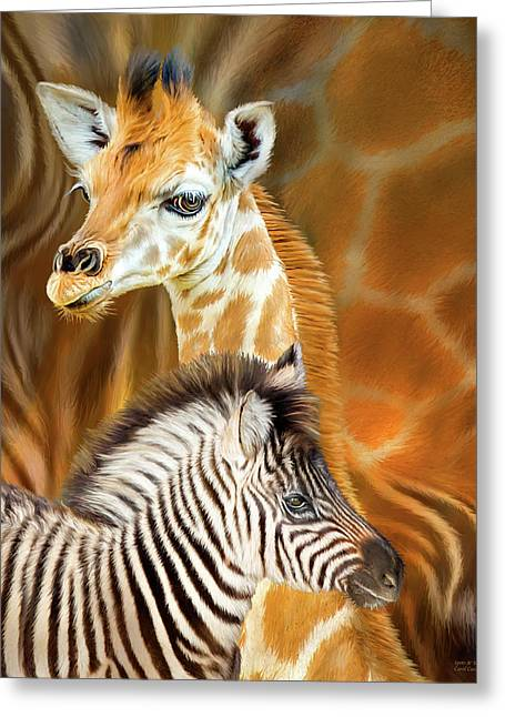 Greeting Card featuring the mixed media Spots And Stripes - Giraffe And Zebra by Carol Cavalaris