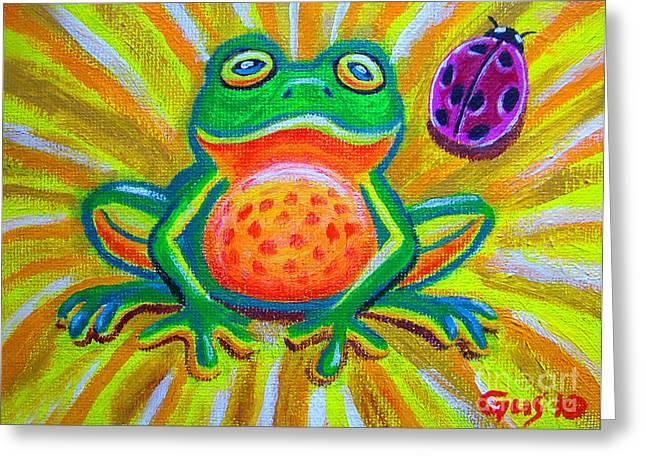 Spotted Frog And Ladybug Greeting Card by Nick Gustafson