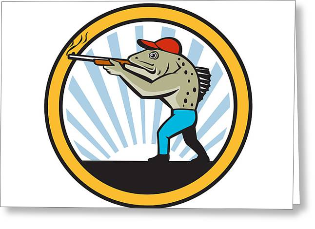 Spotted Sea Trout Hunter Shooting Circle Retro Greeting Card