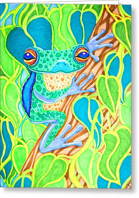 Spotted Tree Frog Greeting Card by Nick Gustafson