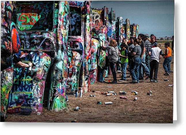 Greeting Card featuring the photograph Spray Paint Fun At Cadillac Ranch by Randall Nyhof
