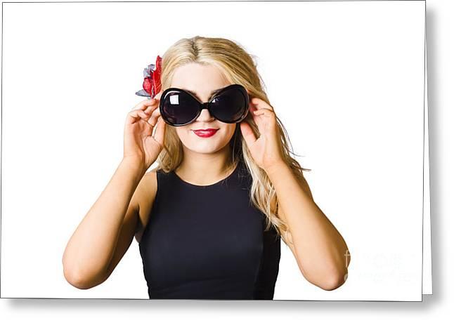 Spray Tan Girl Wearing Goggles. Tanning Beauty Greeting Card