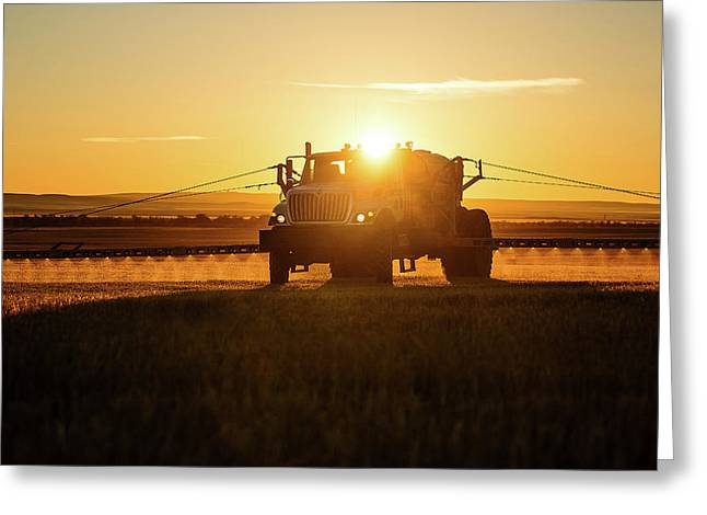 Spraying Wheat Greeting Card by Todd Klassy