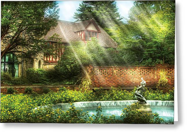 Spring - Garden - The Pool Of Hopes Greeting Card by Mike Savad