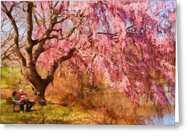Spring - Sakura - A Beautiful Spring Day  Greeting Card by Mike Savad