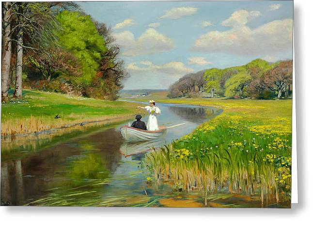 Spring - A Young Couple Rowing Boat On The Odense  Greeting Card by Mountain Dreams