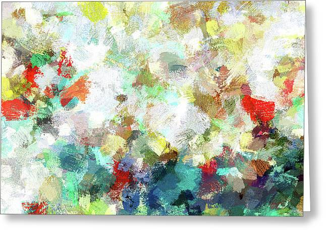 Greeting Card featuring the painting Spring Abstract Art / Vivid Colors by Ayse Deniz