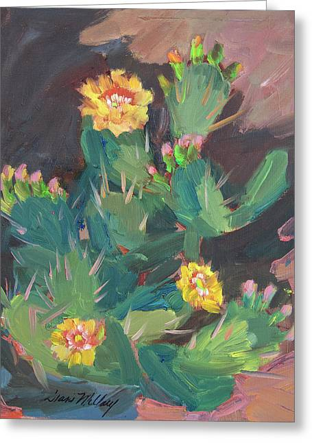 Greeting Card featuring the painting Spring And Prickly Burst Cactus by Diane McClary