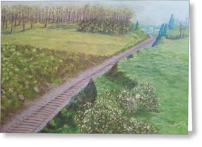 Spring At The Railroad Cut Gettysburg Greeting Card by Joann Renner