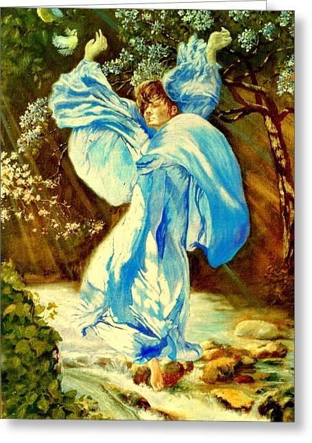 Greeting Card featuring the painting Spring - Awakening by Henryk Gorecki