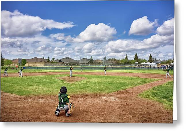 Spring Baseball Warm-up  Greeting Card